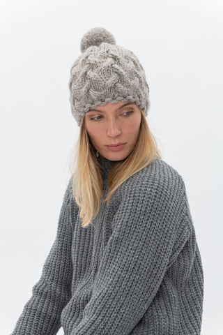 Alpaca & lambswool winter hat Pale Grey
