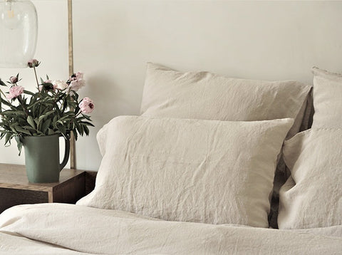 Washed linen pillow case oatmeal (2 sizes)