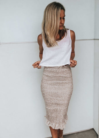 Bonnie Shirred skirt Sand