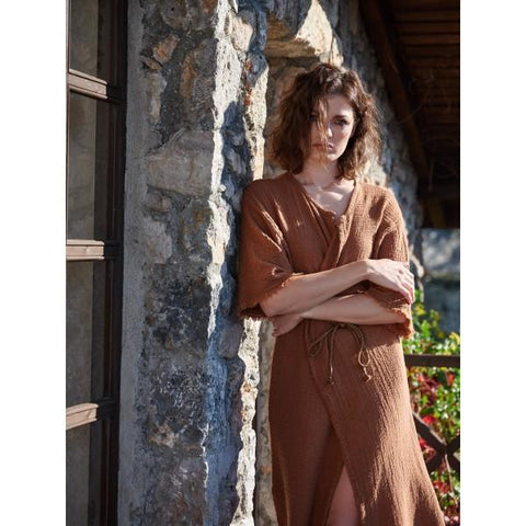 Linen Gauze Coat/Dress 3/4 sleeves fringed