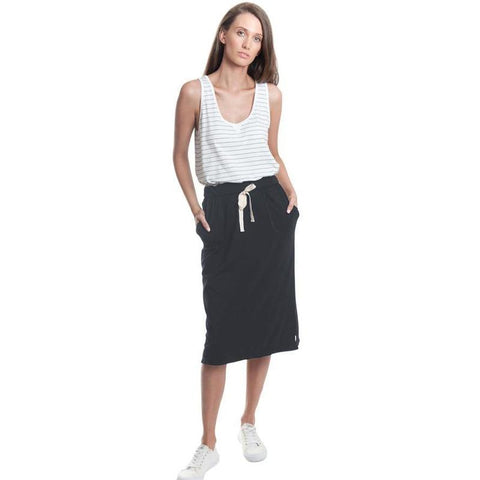 Knee length jersey skirt