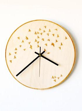 Plywood Wall Clock Birds