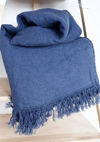 Linen throw denim blue Large