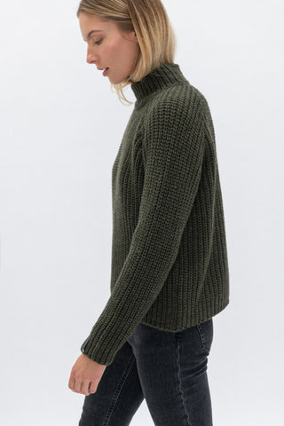 Merino wool high neck sweater Moss