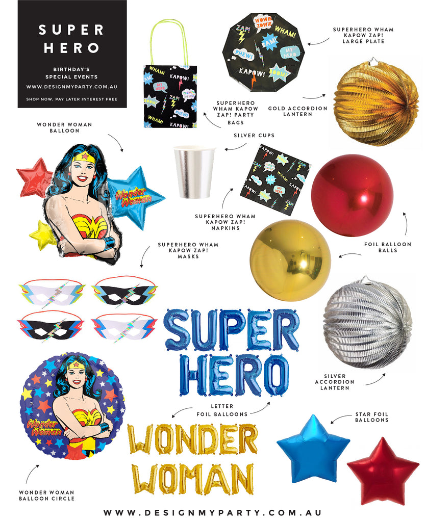 Wonder Woman Superhero Theme Party Styling Inspo