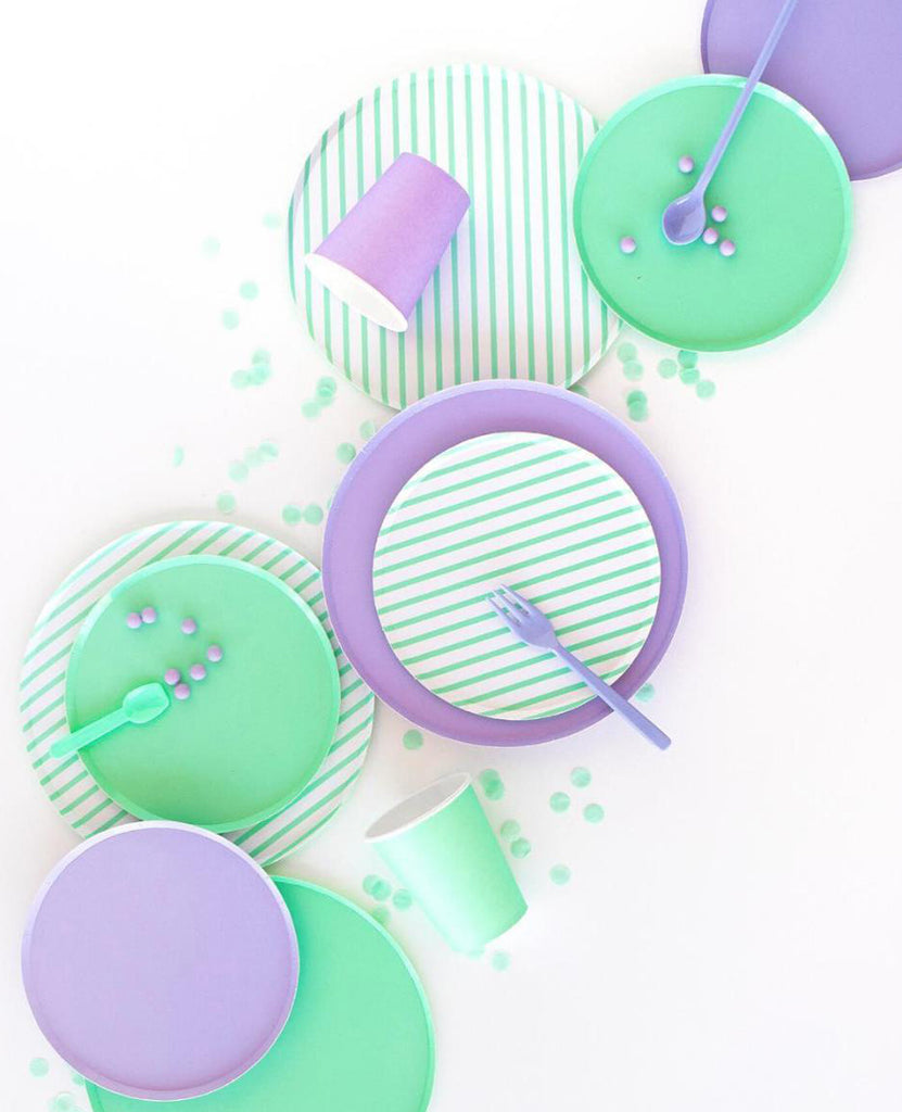 lilac mint party plates and cups