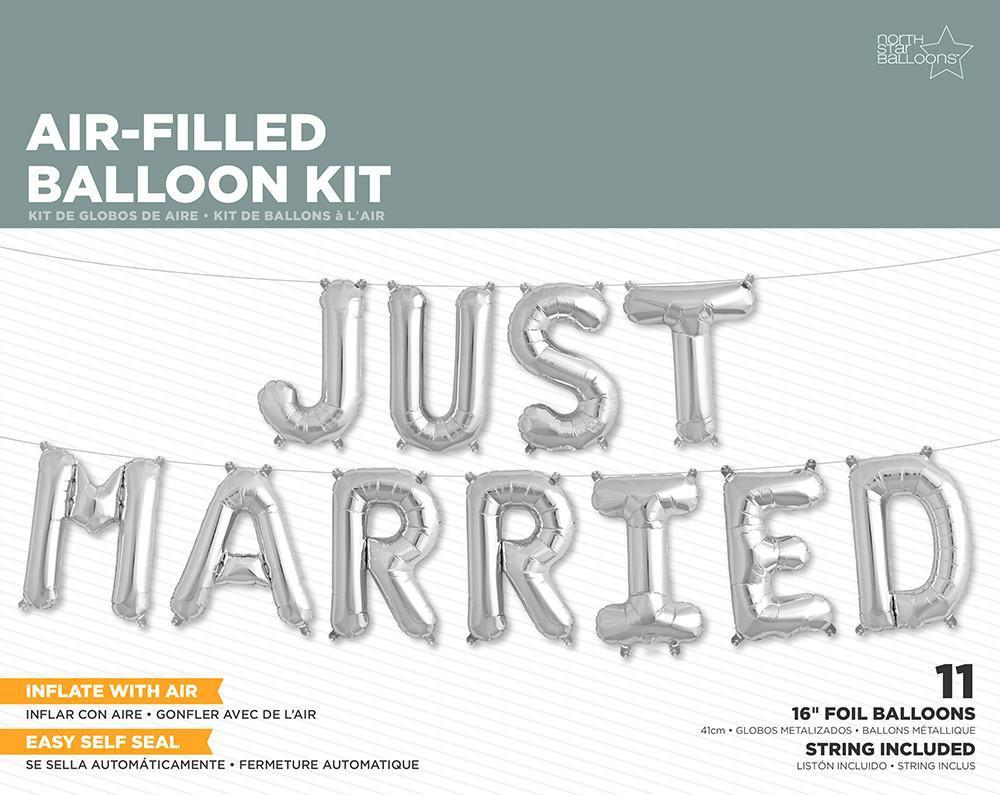 "16"" Just Married Silver Foil Balloons-Party Love"