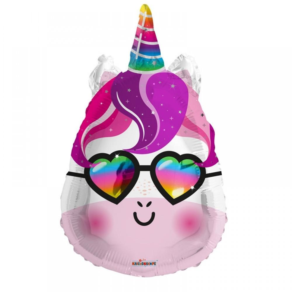 "18"" (46cm) Rainbow Unicorn with Heart Glasses Foil Balloon-Party Love"