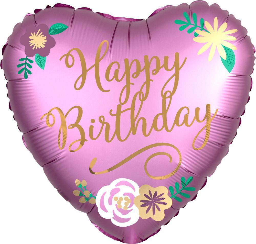 "18"" (46cm) Satin Luxe Happy Birthday Floral Pink Heart Balloon (Free when cart reaches $65)-Party Love"