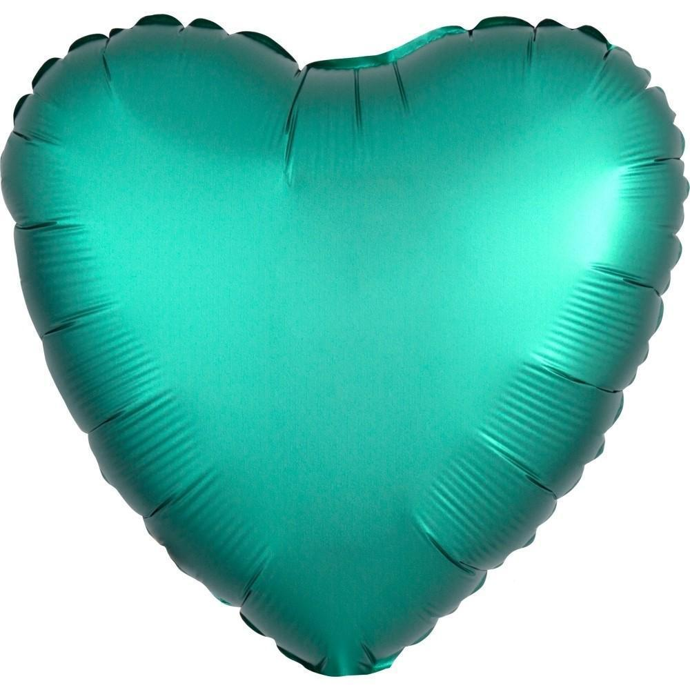 "18"" (46cm) Satin Luxe Jade, Green Heart Foil Balloon-Party Love"