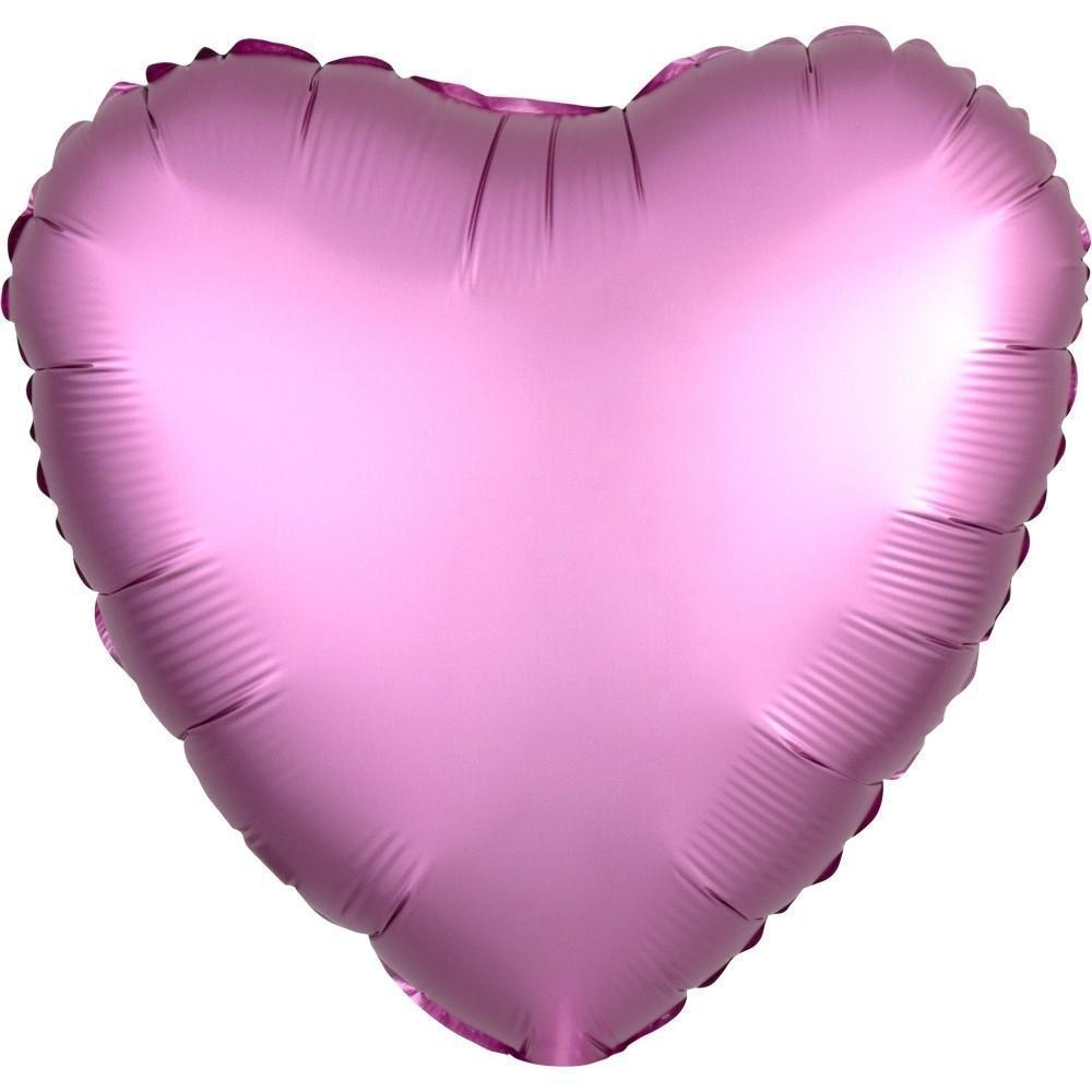 "18"" (46cm) Satin Luxe Lilac Flamingo Pink Heart Foil Balloon-Party Love"