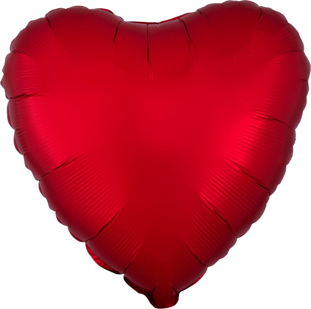 "18"" (46cm) Satin Luxe Red Heart Foil Balloon-Party Love"