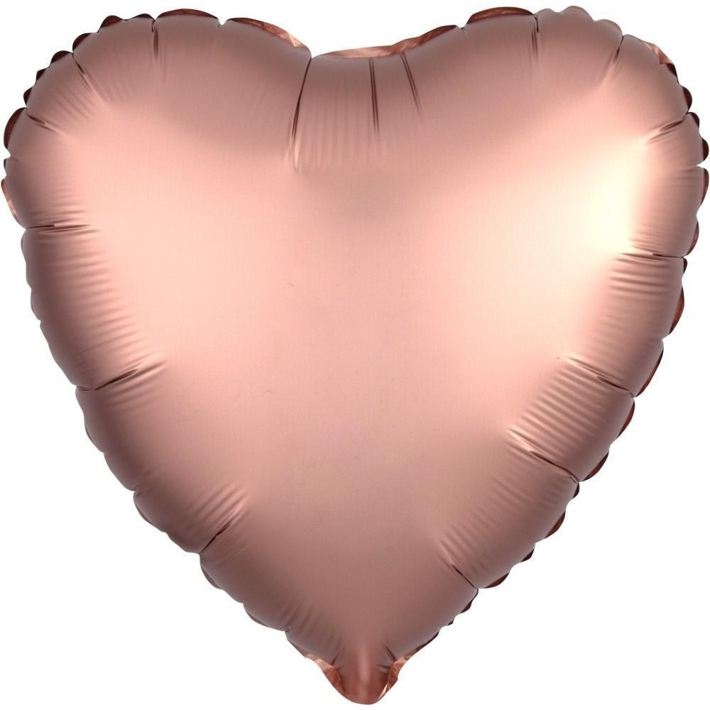 "18"" (46cm) Satin Luxe Rose Gold Copper Heart Foil Balloon-Party Love"