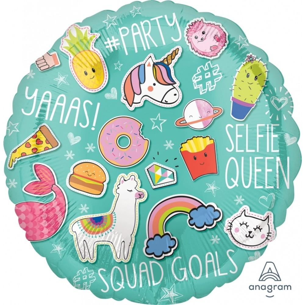 "18"" (46cm) Selfie Celebration Foil Balloon - Llama (Free when cart reaches $65)-Party Love"
