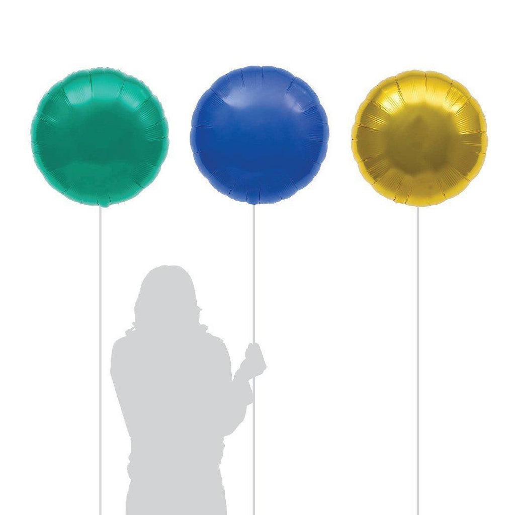 "18"" (46cm) Teal Green, Blue & Gold Round Foil Balloons PL015-Party Love"