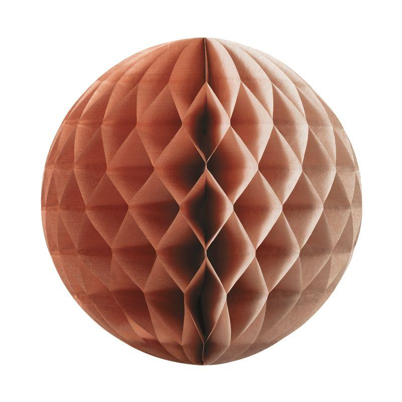 25cm Paper Honeycomb Ball Rose Gold (1 Pack)-Party Love