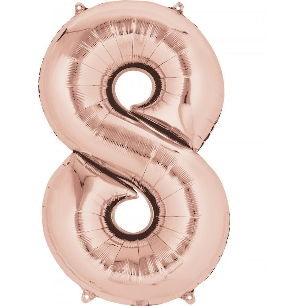 "26"" (66cm) Foil Rose Gold Balloon Number 8-Party Love"