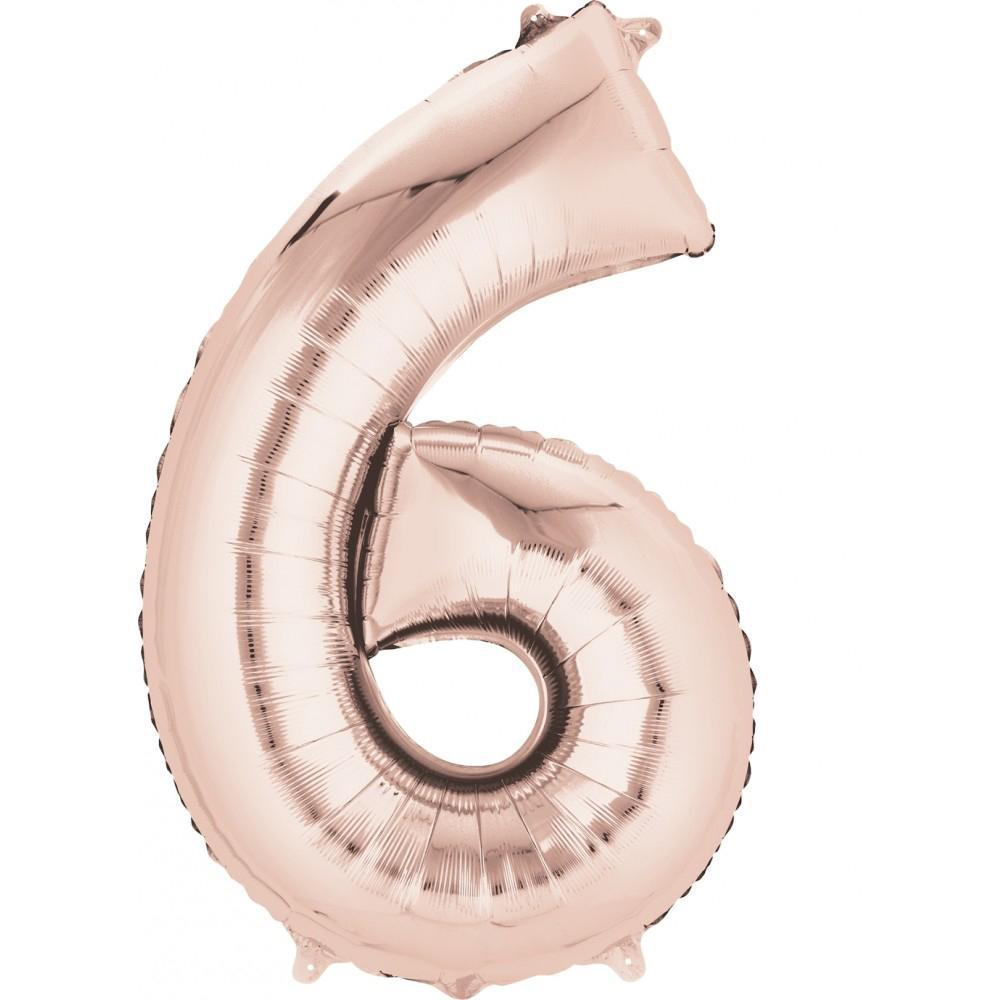 "34"" (83cm) Foil Rose Gold Balloon Number 6-Party Love"
