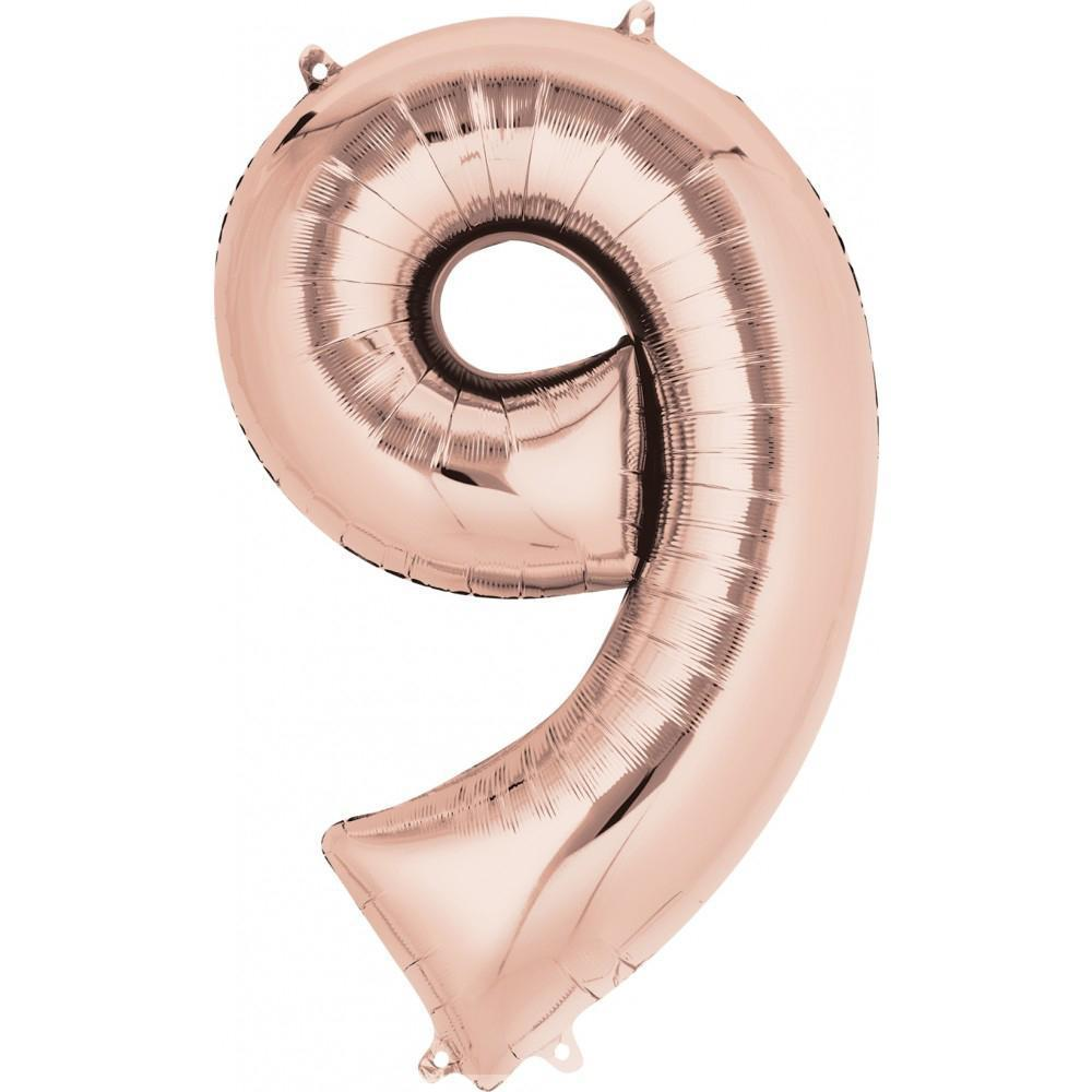 "34"" (83cm) Foil Rose Gold Balloon Number 9-Party Love"