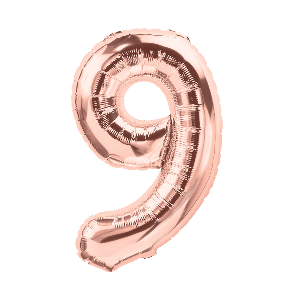 "SALE 100cm (40"") Foil Rose Gold Balloon Number 9-Party Love"