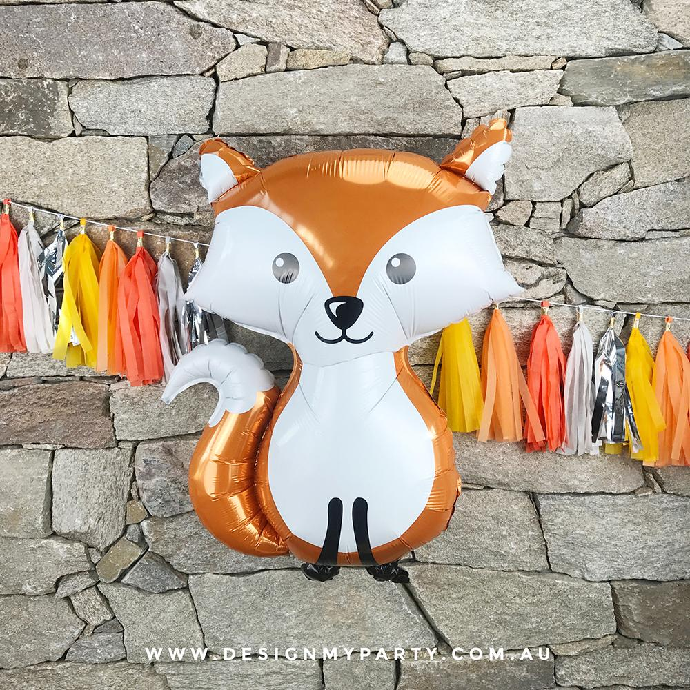 "36"" (92cm) Jumbo Woodland Fox Foil Balloon - Orange-Party Love"