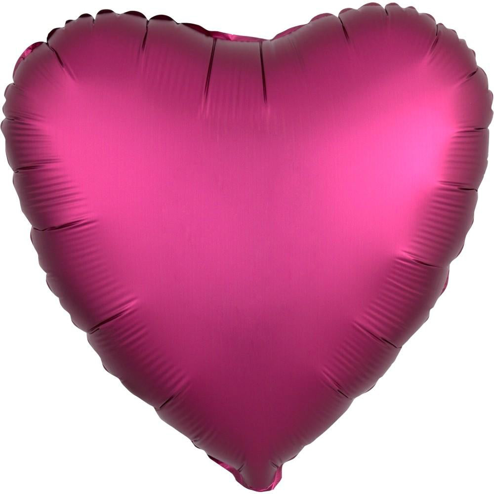 "18"" (46cm) Satin Luxe Pomegranate Burgundy Pink Heart Foil Balloon-Party Love"