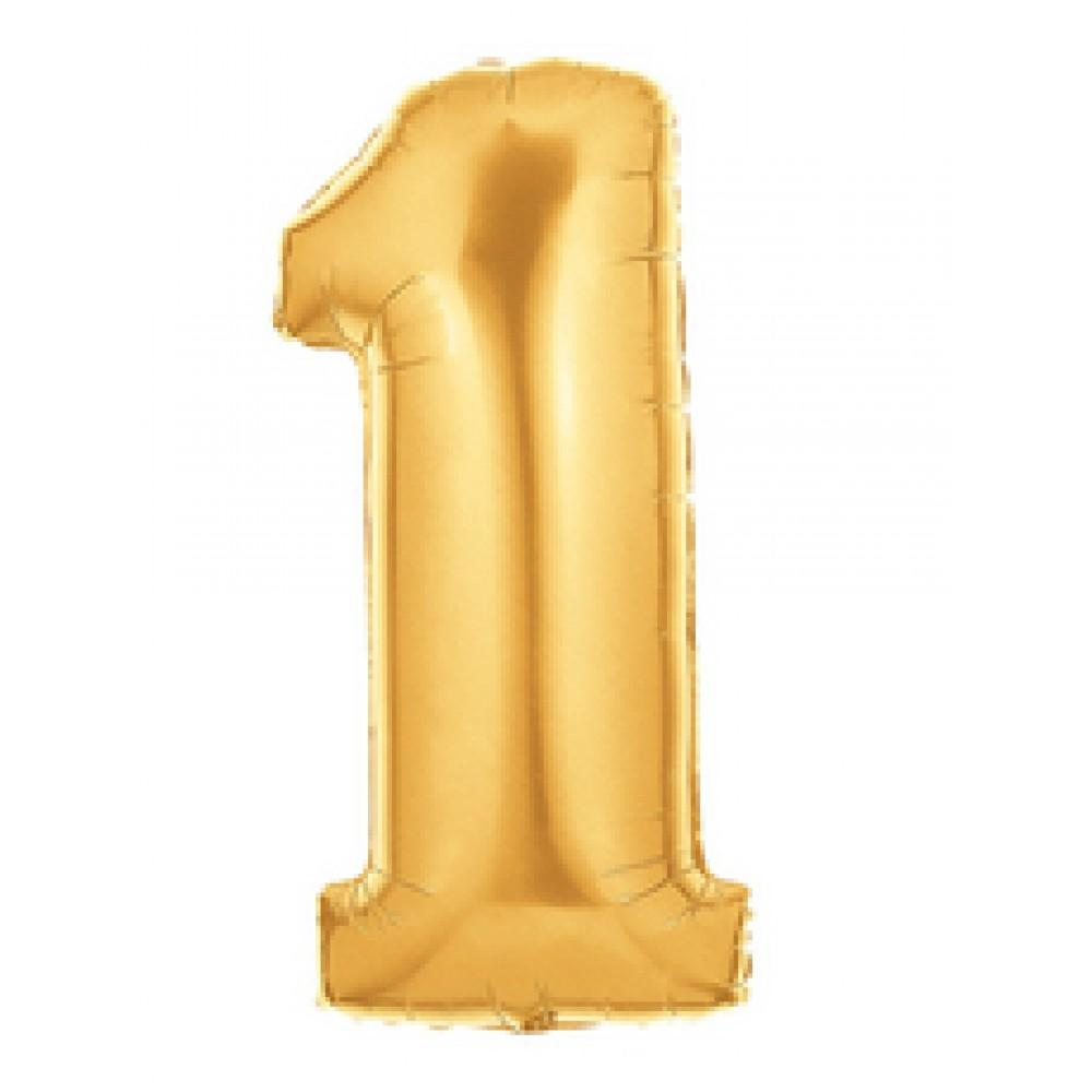 "40"" (100cm) Foil Antique Gold Balloon Number 1-Party Love"