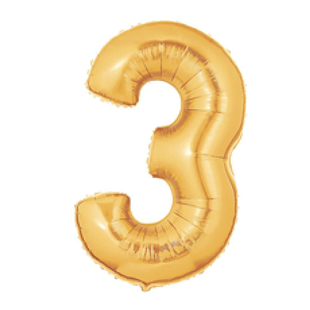 "40"" (100cm) Foil Antique Gold Balloon Number 3-Party Love"