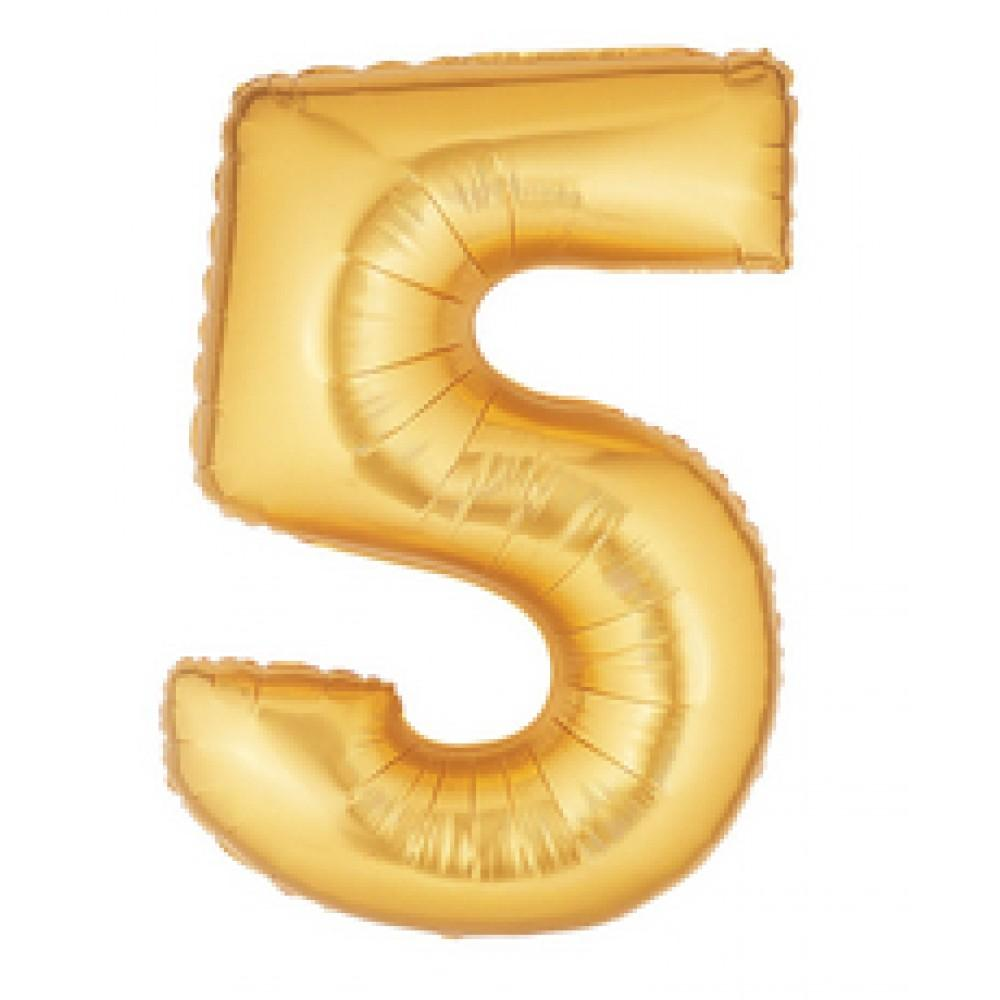 "40"" (100cm) Foil Antique Gold Balloon Number 5-Party Love"
