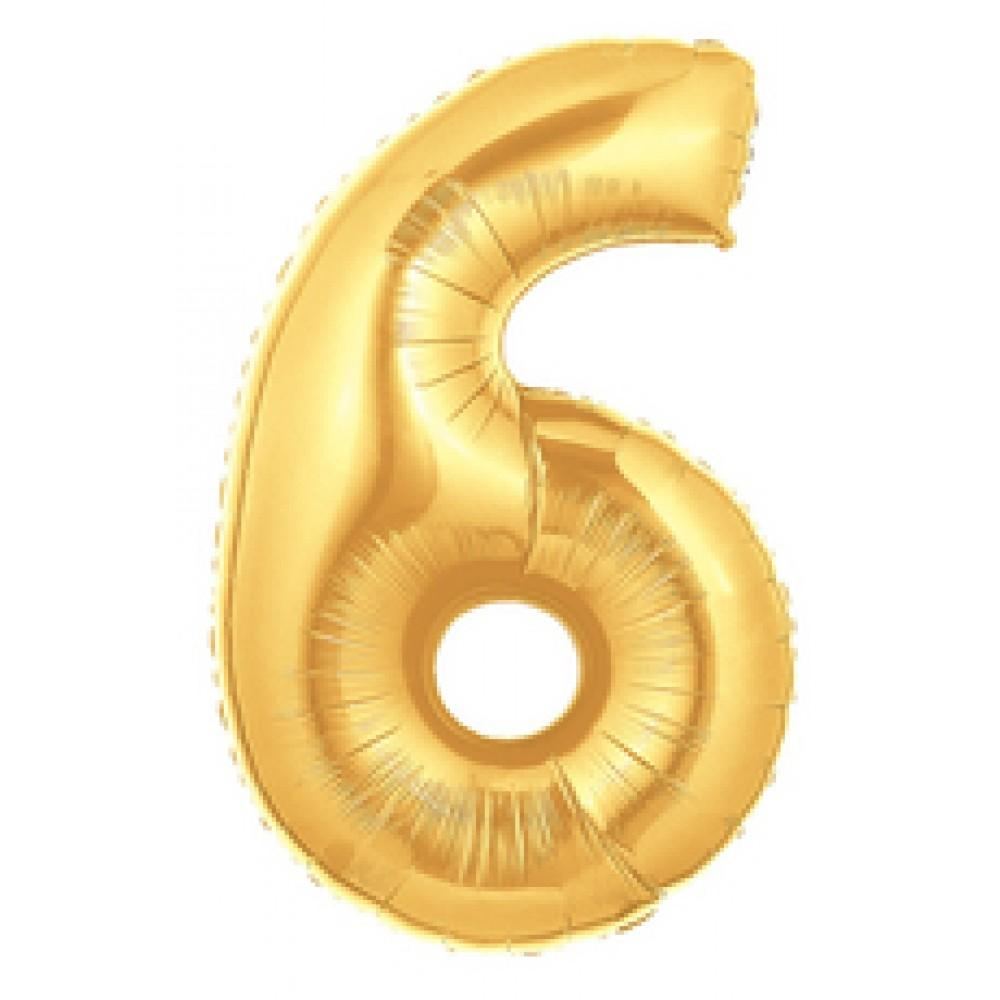 "40"" (100cm) Foil Antique Gold Balloon Number 6-Party Love"