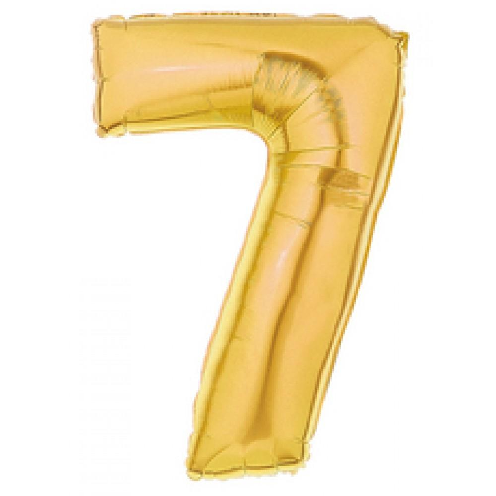 "40"" (100cm) Foil Antique Gold Balloon Number 7-Party Love"