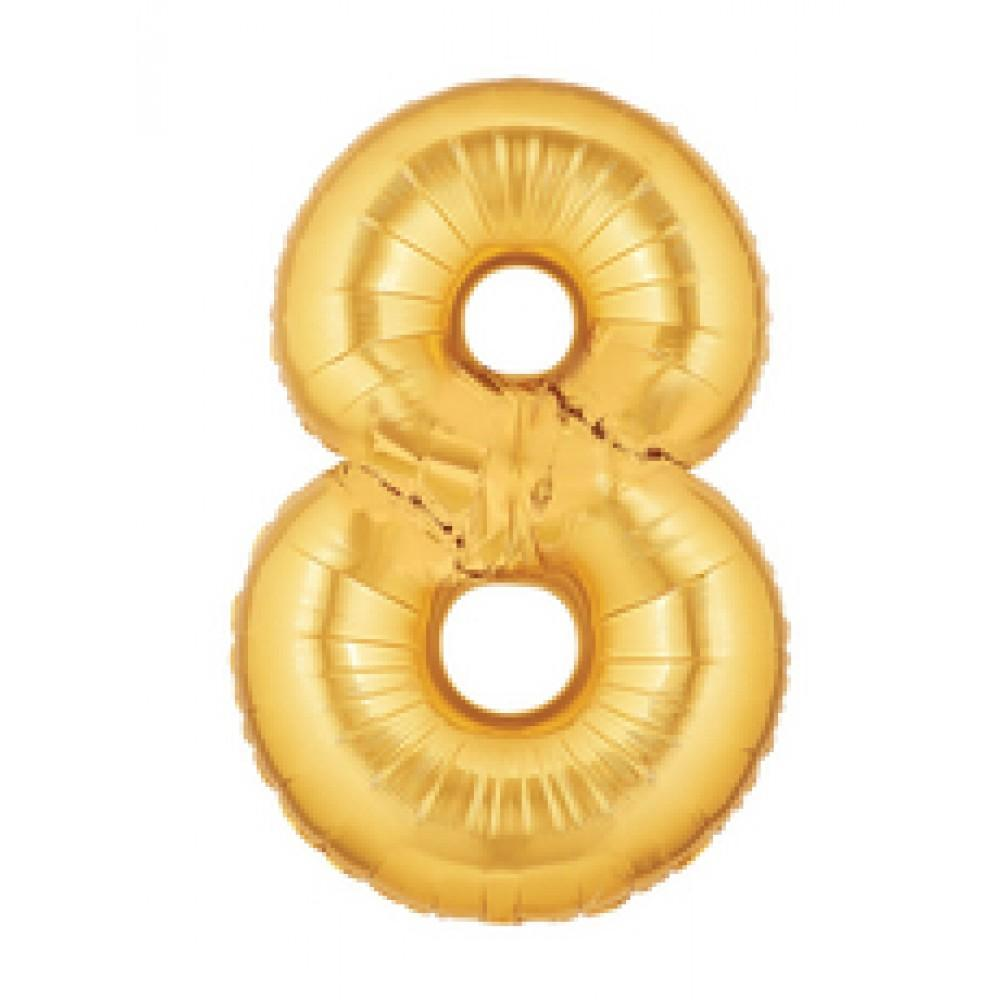 "40"" (100cm) Foil Antique Gold Balloon Number 8-Party Love"