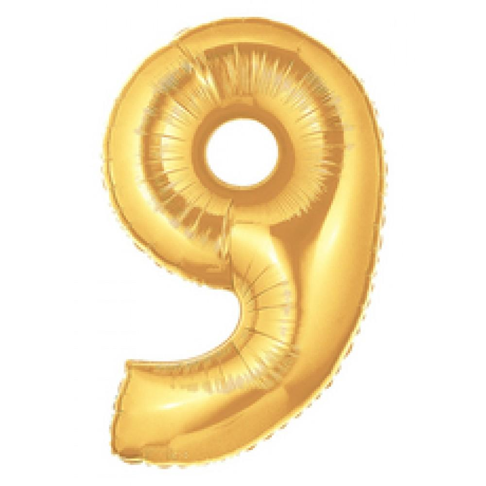 "40"" (100cm) Foil Antique Gold Balloon Number 9-Party Love"