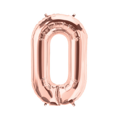 "40cm (16"") Foil Rose Gold Balloon Number 0-Party Love"