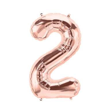 "40cm (16"") Foil Rose Gold Balloon Number 2-Party Love"