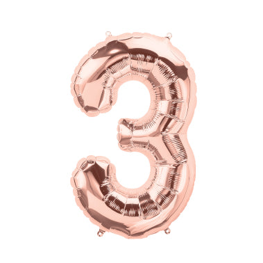 "40cm (16"") Foil Rose Gold Balloon Number 3-Party Love"
