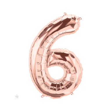 "40cm (16"") Foil Rose Gold Balloon Number 6-Party Love"