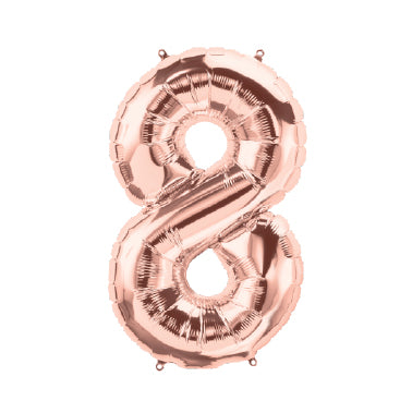 "40cm (16"") Foil Rose Gold Balloon Number 8-Party Love"