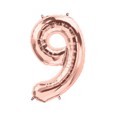 "40cm (16"") Foil Rose Gold Balloon Number 9-Party Love"