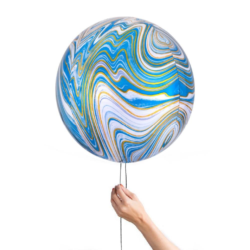 40cm Blue Marble Foil Orbz-Party Love