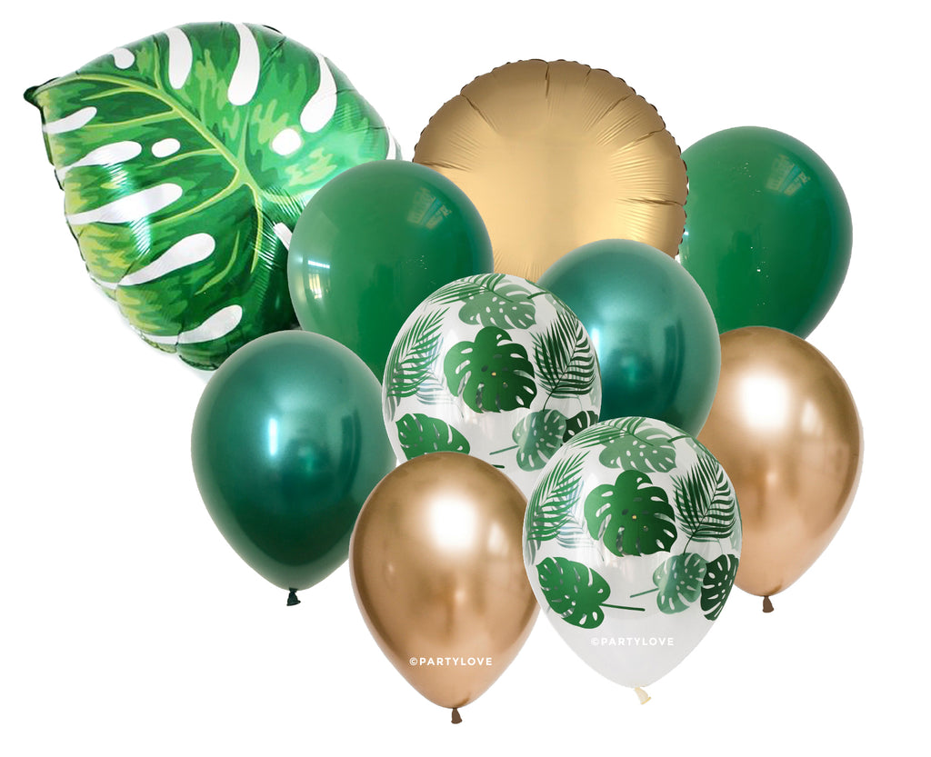 Jungle Tropical Palm Leaf Luxe Gold, Green, Chrome Balloon Bouquet (10 Pack) 10/50-Party Love