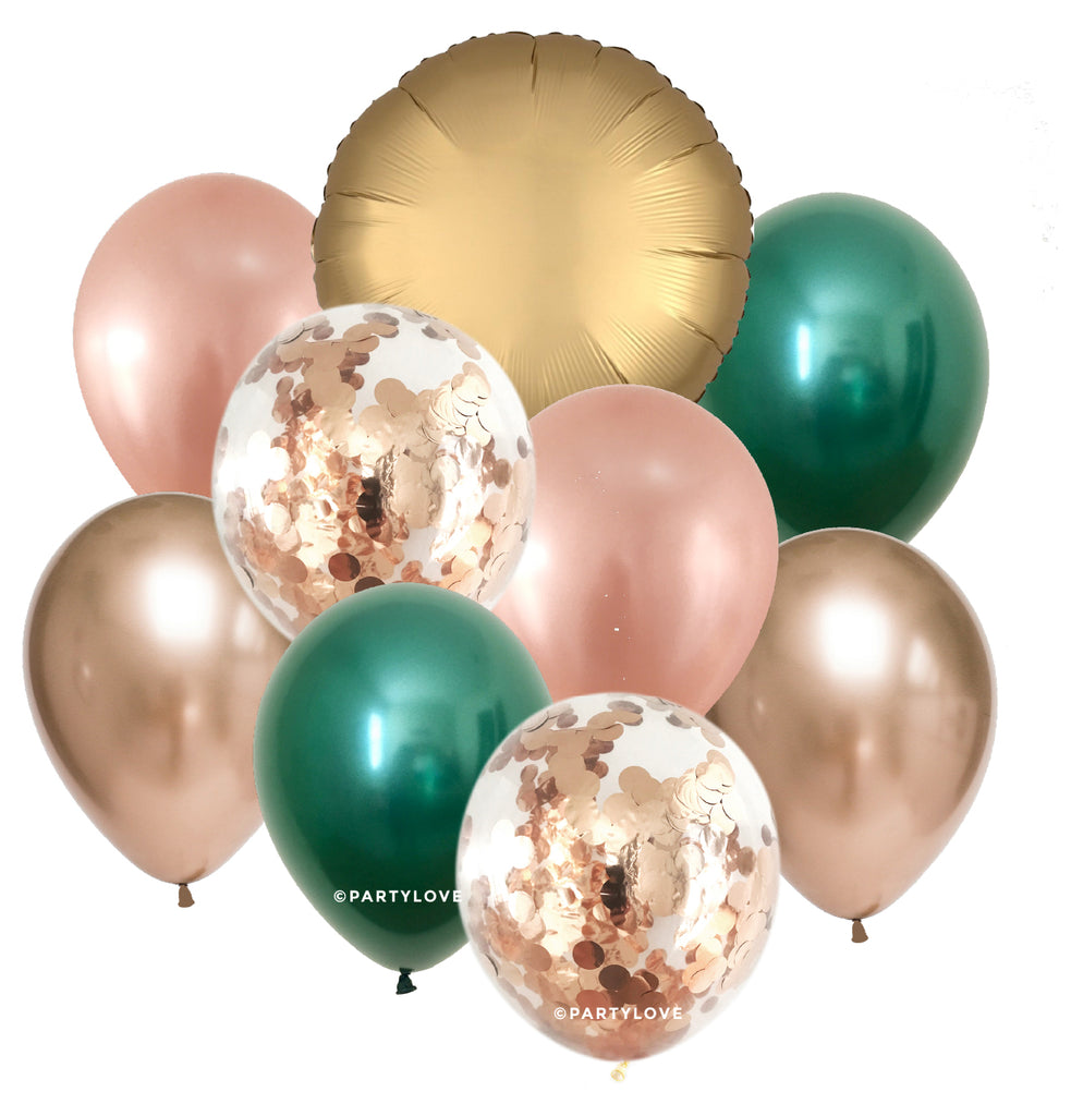 Lush Luxe Gold, Rose Gold, Green, Chrome Balloon Bouquet (9 Pack) 9/52-Party Love