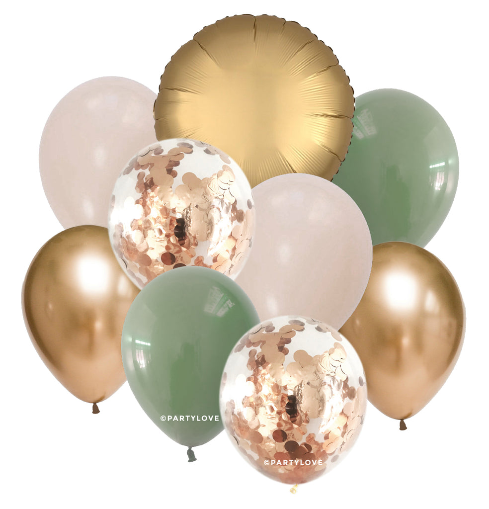 Eucalyptus Luxe Gold, White Sand Balloon Bouquet (9 Pack) 9/53-Party Love