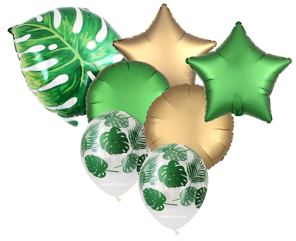 Jungle Tropical Palm Leaf Balloon Foil Bouquet (7 Pack) 7/55-Party Love