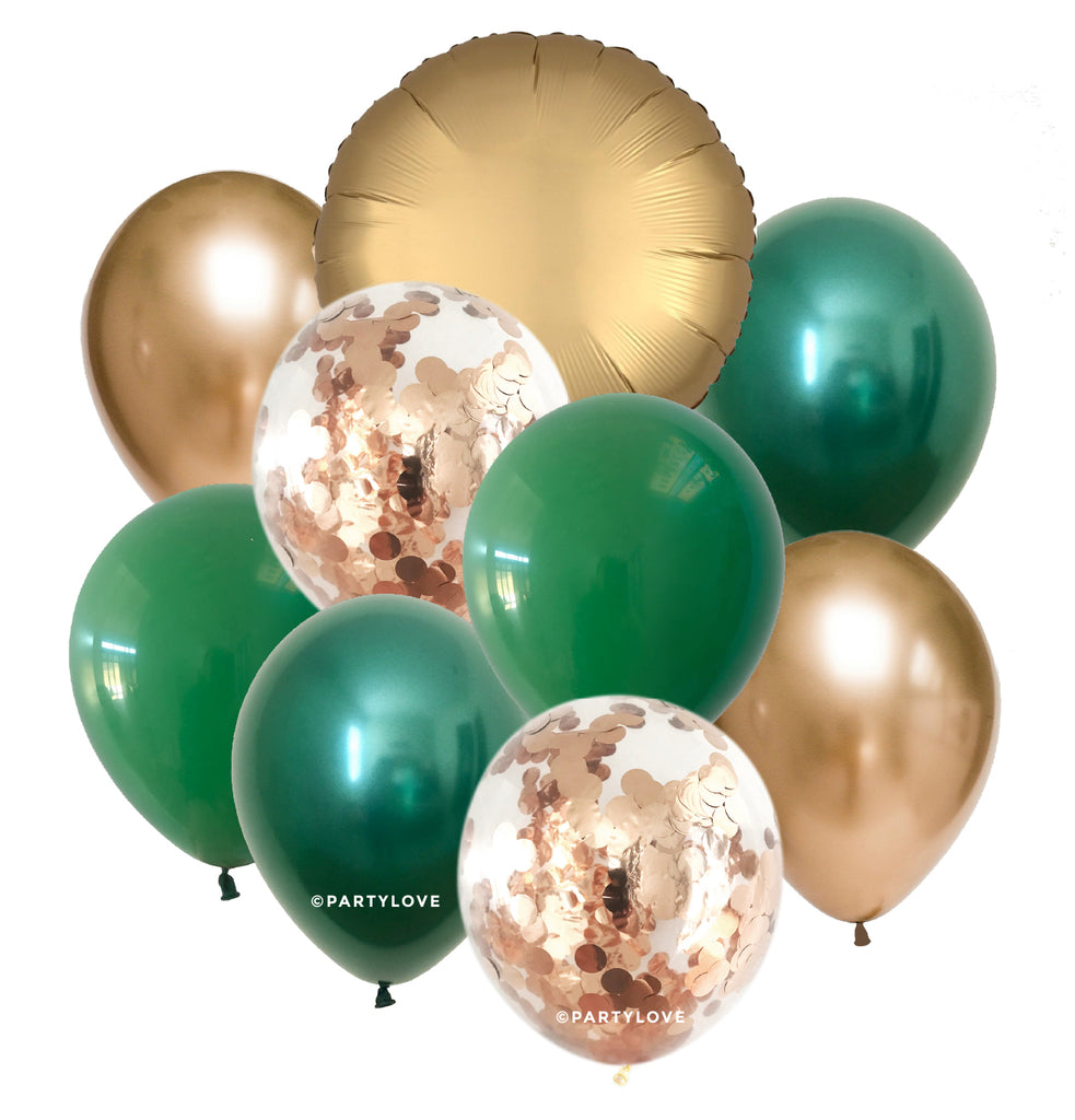 Amazon Glam – Luxe Gold, Green, Chrome Balloon Bouquet (9 Pack) 9/76-Party Love