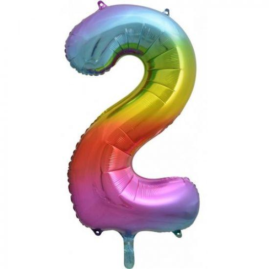 "86cm (34"") Rainbow Balloon Number 2-Party Love"