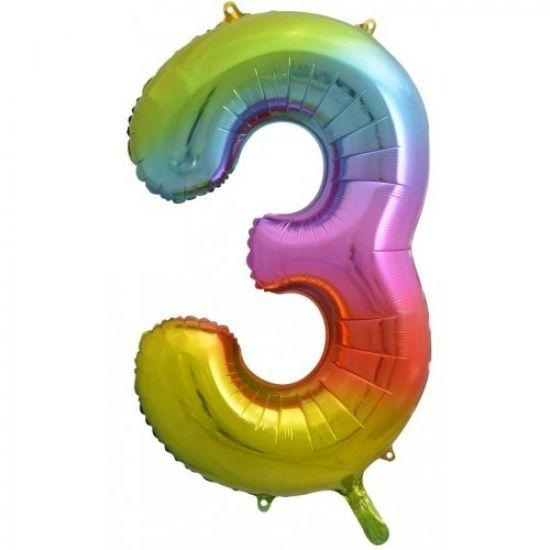 "86cm (34"") Rainbow Balloon Number 3-Party Love"