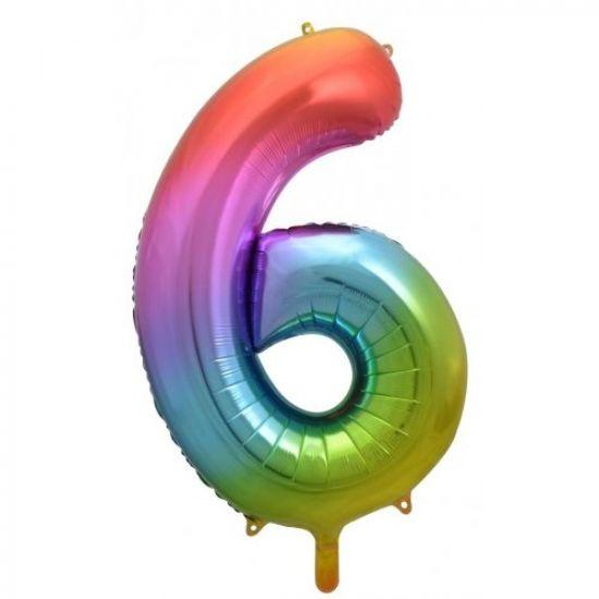"86cm (34"") Rainbow Balloon Number 6-Party Love"