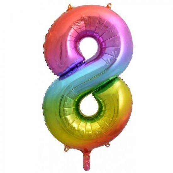 "86cm (34"") Rainbow Balloon Number 8-Party Love"