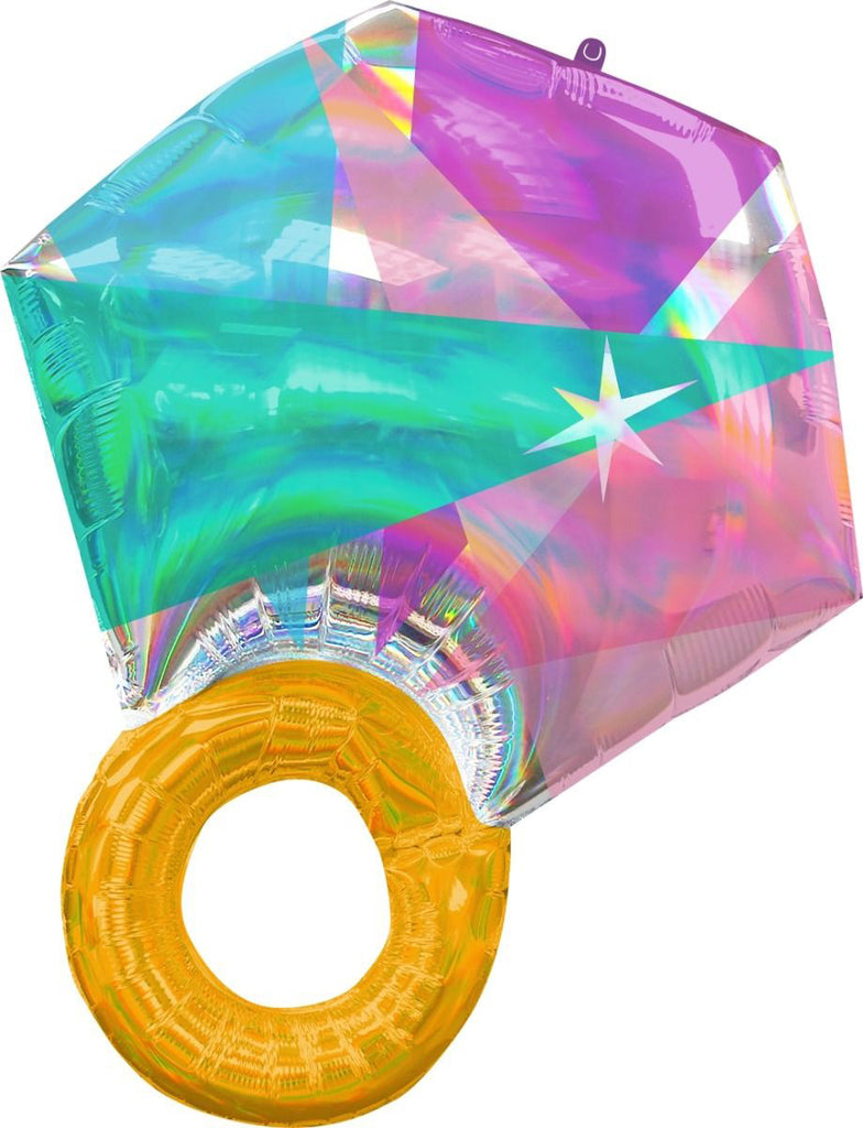Anagram Foil SuperShape Holographic Iridescent Wedding Ring Foil Balloon (55cm x 68cm)-Party Love